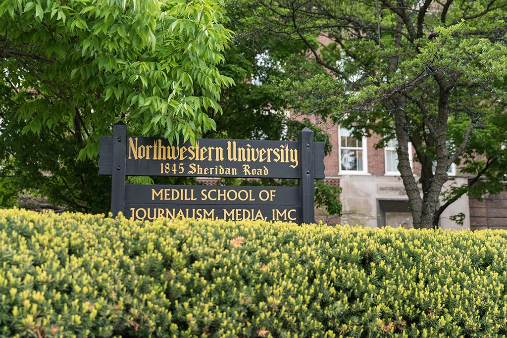 Medill School of Journalism sign outside Fisk Hall