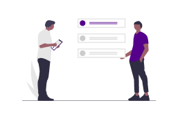 Refine & Share Graphic Two people looking at options