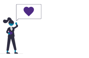 Illustration of woman with dialogue box with heart in it