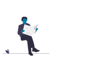 Illustration of person reading a newspaper