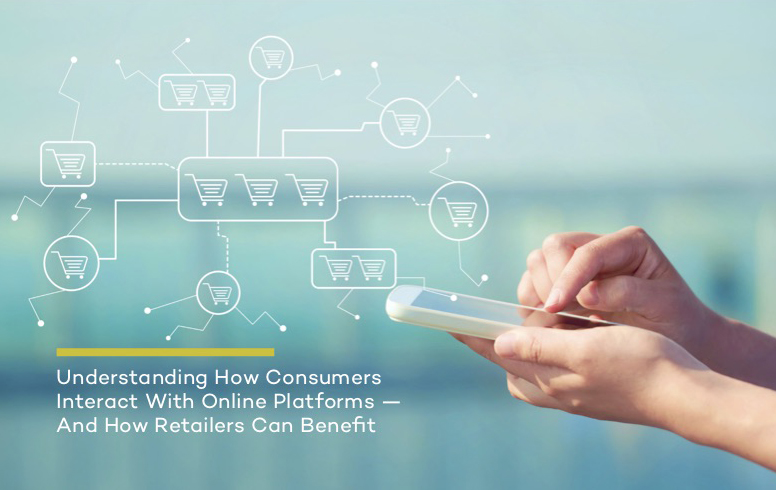 """Report Cover that says """"Understanding How Consumers Interact with Online paltforms and how retailers can benefit. Shows hand holding mobile."""